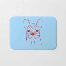 French Bulldog (Blue and Red) Bath Mat