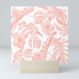 Tropical Palm Leaves Hibiscus Flowers Coral Pink Mini Art Print