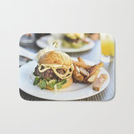 Juicy beef burger food photography Bath Mat