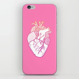 Designer Heart Pink Background iPhone Skin