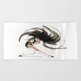 Expressive Ballerina Dance Drawing Beach Towel