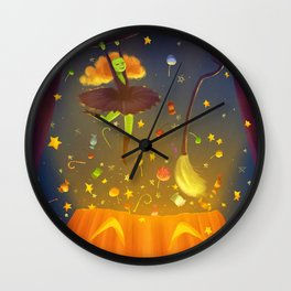 Witch Surprise From Pumpkin in Halloween Night Wall Clock