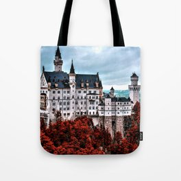 The Castle of Mad King Ludwig in the Autumn, Neuschwanstein Castle, Bavaria, Germany Tote Bag