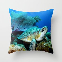Turtle on the Reef Throw Pillow