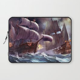 Majestic Enthralling Medieval Frigate Sail Ship Battle At High Sea Ultra HD Laptop Sleeve