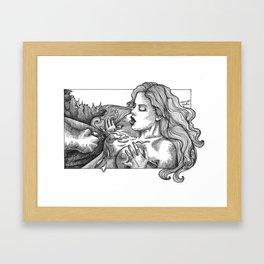 mature/pearlnecklace/blowjob/ejaculation/cock/boobs/nudeart/erotic art/porn/pornart/ Framed Art Print