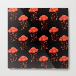 Watercolor Cloud Rain Of Red Heart Valentines Day  Metal Print