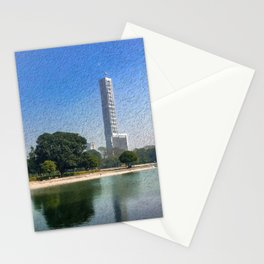 Kolkata Skyline Reflection - Paintography  Stationery Cards