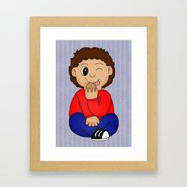 Bertie eating Biscuits Framed Art Print