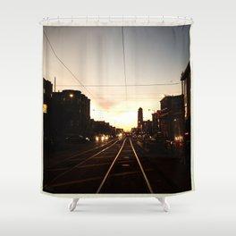 San Francisco Muni Njudah Sunset Silhouette  Shower Curtain