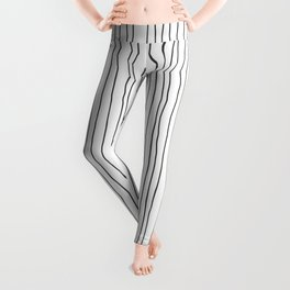 Hand Drawn Lines Vertical White Dark Gray Leggings