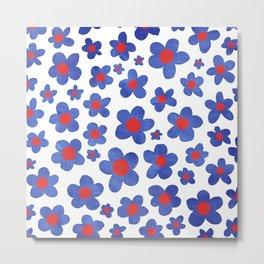 Cobalt Blue & Cherry Red Denim Painted Daisies on White Metal Print