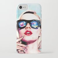 iggy azalea iPhone & iPod Cases featuring Iggy Azalea- Blue  by Tiffany Taimoorazy