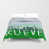 i want to believe Duvet Covers featuring I WANT TO BELIEVE by Paisleysaurus