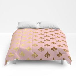 Royal gold ornaments on pink background Comforters