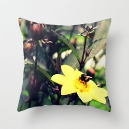 Bumblebee & flowers Throw Pillow