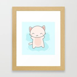 Kawaii Cute Snow Angel Cat Framed Art Print