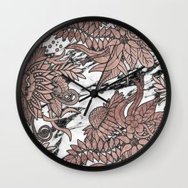 Chic Rose Gold Flowers Leaves and Modern Marble Wall Clock