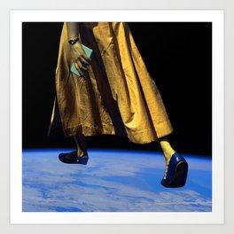 Surreal World Giant Lady Yellow Blue Art Print