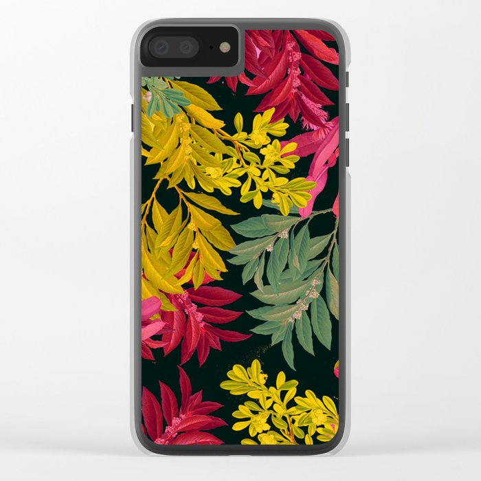 Pink Leaves Clear iPhone Case