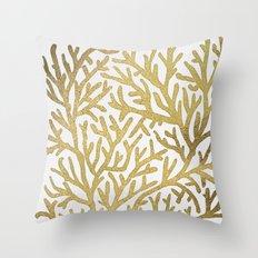 Gold Coral Throw Pillow
