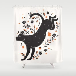 Dogs of Fall - Orange Palette Shower Curtain
