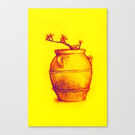 Drawing of a tree branch in a flower pot Canvas Print