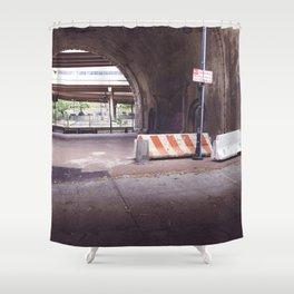 Under the Brooklyn Bridge, a Shutdown Skatepark Shower Curtain
