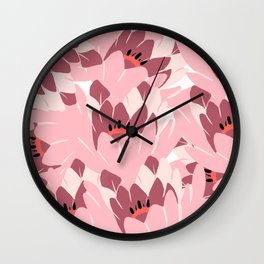 Hand painted burgundy blush pink floral illustration Wall Clock