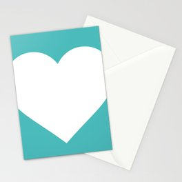 Heart (White & Teal) Stationery Cards