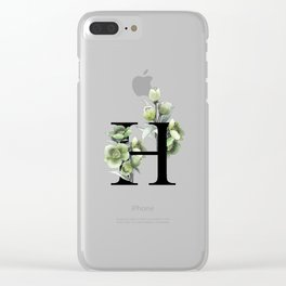 Letter 'H' Helleborus Flower Typography Clear iPhone Case