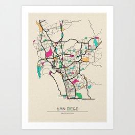 Colorful City Maps: San Diego, California Art Print