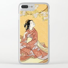 Woman & Cherry Blossoms #2 Clear iPhone Case