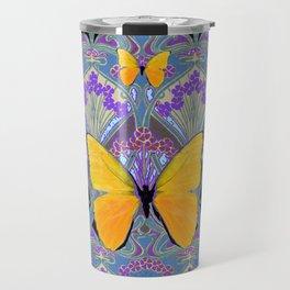 Pastel Lilac yellow butterflies Art Nouveau Design Travel Mug