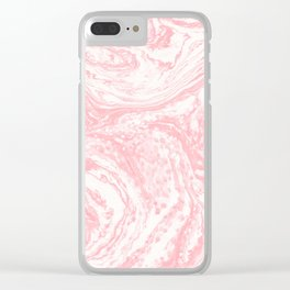 Elegant coral pink white watercolor abstract marble Clear iPhone Case