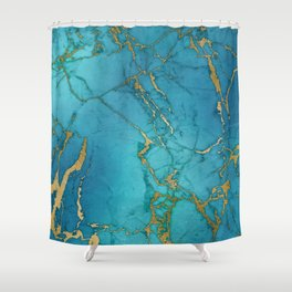 Electric Blue Marble Shower Curtain