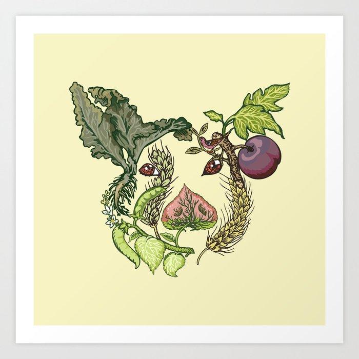 Botanical Pig Art Print