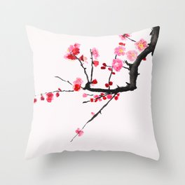 red plum flower red background Throw Pillow