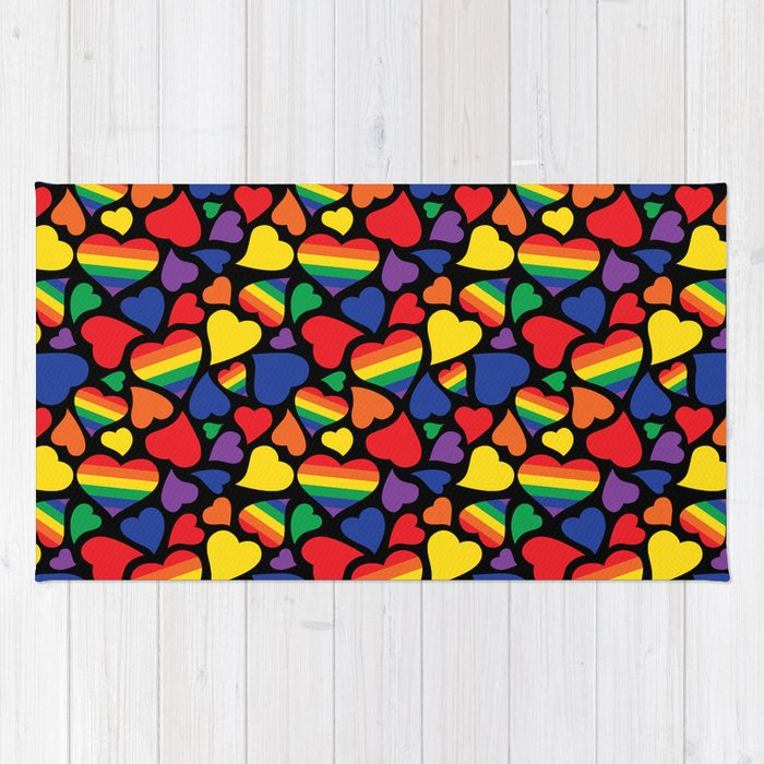 d14f9269 Retro Rainbow LGBT Pride Hearts Rug by wingmarksdesigns | Society6
