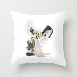 pink & plants 4 Throw Pillow