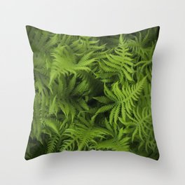 Natures spiral of Fern leaves Throw Pillow