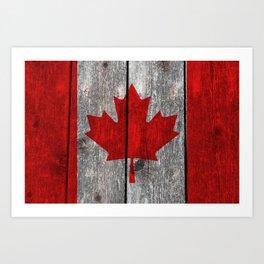 Canada flag on heavily textured woodgrain Art Print