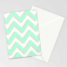 3D CHEVRON MINT/PEACH Stationery Cards