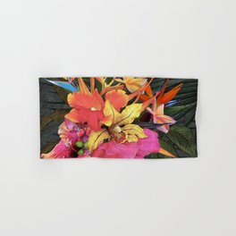 Hawaiian Luau Centerpiece of Tropical Flowers Hand & Bath Towel