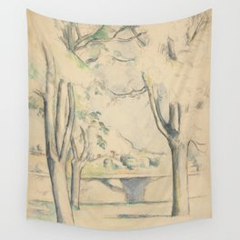 Mont Sainte-Victoire Seen beyond Wall Enhanced Vintage Watercolor Wall Tapestry