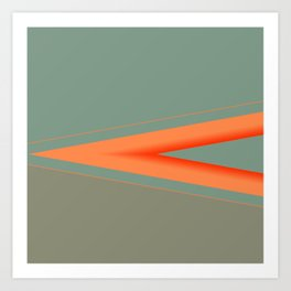 Army Green Orange Stripe Art Print
