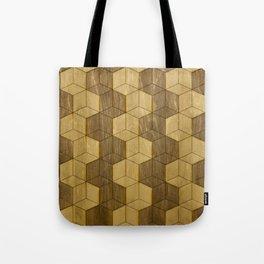 Wooden Zig Zag Optical Cubes Tote Bag