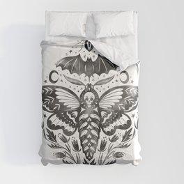 Watercolor Skull Moth Comforters