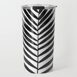 Palm Leaf Watercolor | Black and White Travel Mug