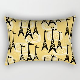 Mid Century Modern Giraffe Pattern Black and Yellow Rectangular Pillow